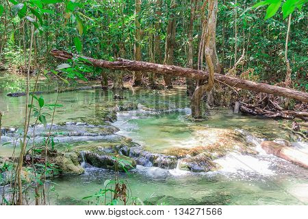 Waterfall in the tropical forest at Thanbok Khoranee National Park Krabi Thailand