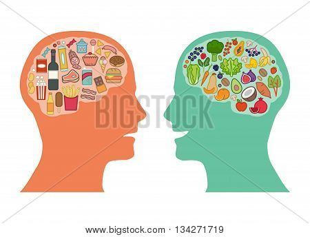 Junk unhealthy food and healthy vegetables diet comparison best food for brain concept