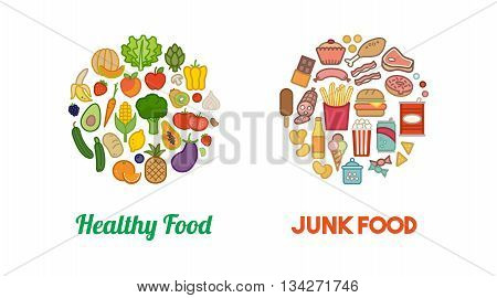 Healthy fresh vegetables and unhealthy junk food icons in circular shapes diet and nutrition concept