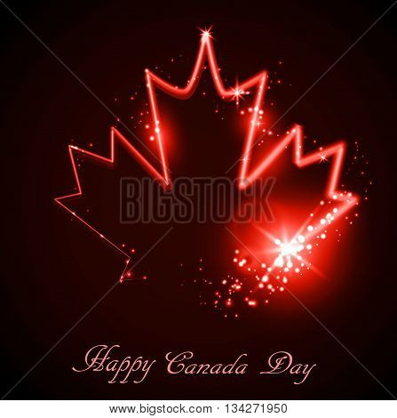 Neon maple leaf on the dark background for canada day