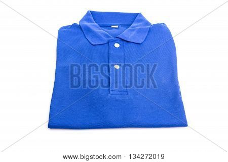 Close Up Blue T-shirt Isolated On White