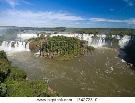Aerial View of Iguazu Falls one of the world's great natural wonders, on the border of Brazil and Argentina