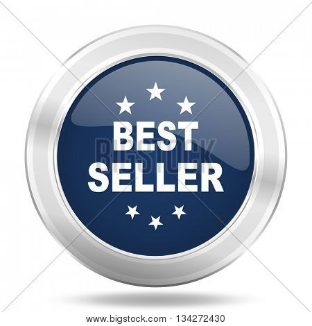 best seller icon, dark blue round metallic internet button, web and mobile app illustration