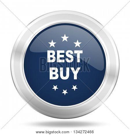 best buy icon, dark blue round metallic internet button, web and mobile app illustration