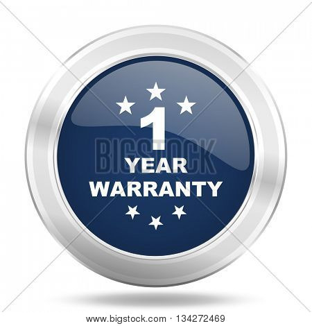 warranty guarantee 1 year icon, dark blue round metallic internet button, web and mobile app illustration
