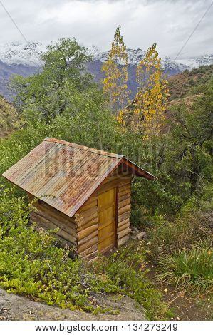 Wood House In The  Mountain