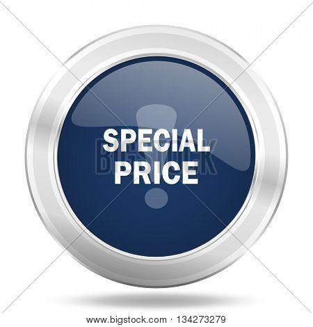 special price icon, dark blue round metallic internet button, web and mobile app illustration