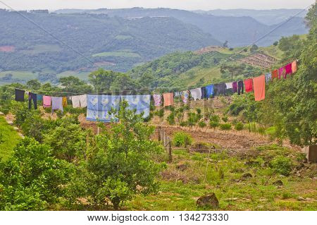 Clothing Drying In A Rural House In Veranopolis