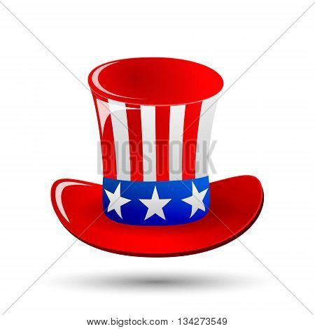Patriotic Uncle Sam hat for 4th of July public holiday card greetings in vector format. Cartoon or doodle style. isolated on white background. American stars and stripes