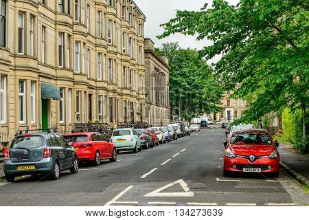 GLASGOW SCOTLAND - JUNE 13 2016: Bentick Street in the west end of Glasgow.
