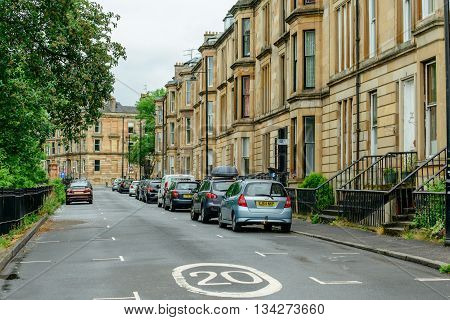 GLASGOW SCOTLAND - JUNE 13 2016: Parkgrove Terrace in the west end of Glasgow.