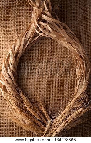 Malt Still Life Rope Flax Frame Sackcloth Background