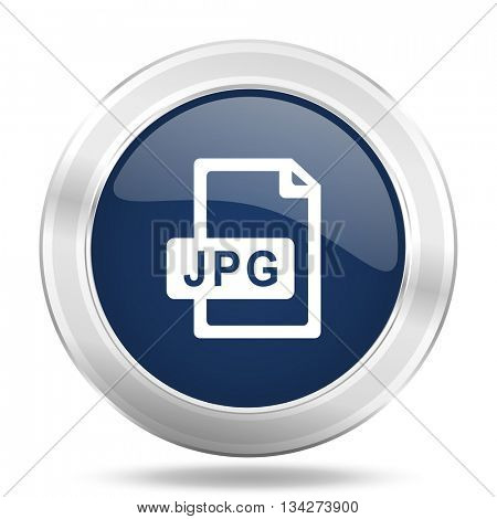 jpg file icon, dark blue round metallic internet button, web and mobile app illustration