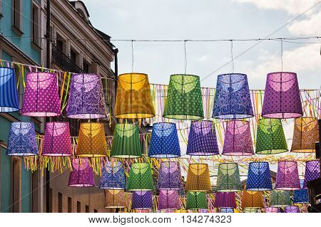Outdoor decorative ornaments in the form of multi-colored lampshades
