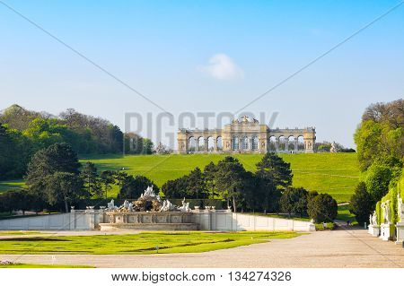 View on Gloriette structure and Neptune fountain Vienna Austria
