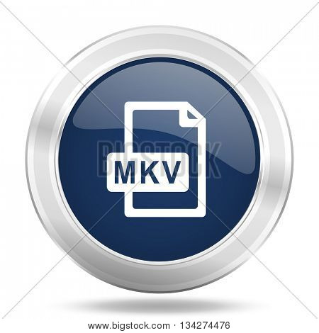 mkv file icon, dark blue round metallic internet button, web and mobile app illustration