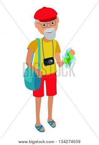 Illustration of elderly man tourist isolated on white background. Senior man holding bags and booklet in her hands. Senior man illustration on flat style. Illustration of elderly man traveling isolated on white background