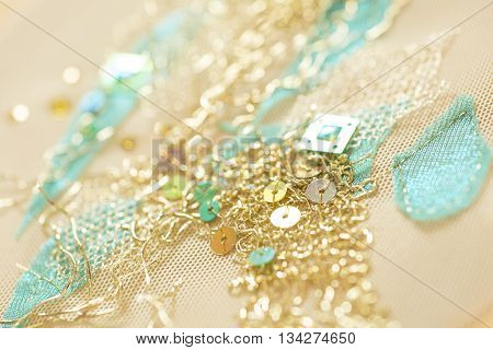 Gold thread with sequins clothing design embroidery