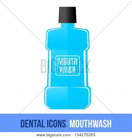Vector flat dental icon. Mouthwash. Brochures, advertisements, manuals, technical descriptions. Isolated on a white background.