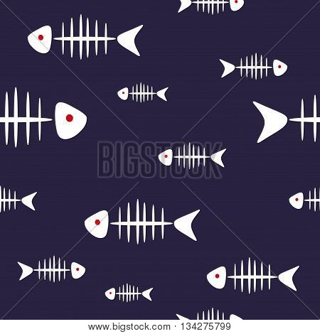 Fish bones seamless pattern. White fishbones isolated on dark blue. Vector background.