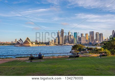 SYDNEY AUSTRALIA - APRIL 20: View on Sydney skyline with Opera house and downtown. April 2016