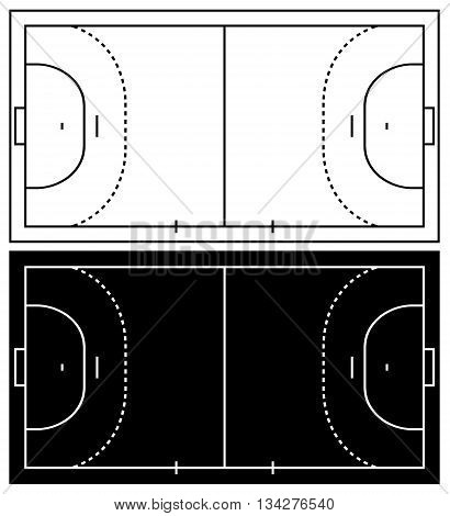 Black and white andball court isolated on white background