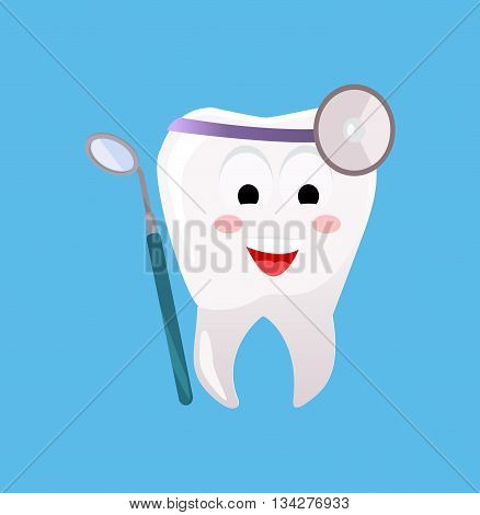 Concept of Dentistry Banner Poster. Cartoon tooth with dental instruments for happy smile design flat style. Medicine stomatology placard with space for text vector illustration