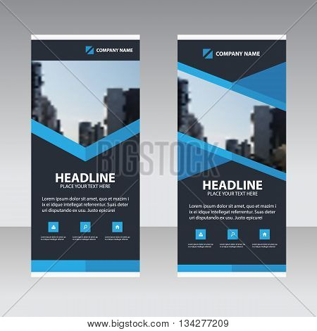 Blue polygon Business Roll Up Banner flat design template Abstract Geometric banner template Vector illustration set abstract presentation template