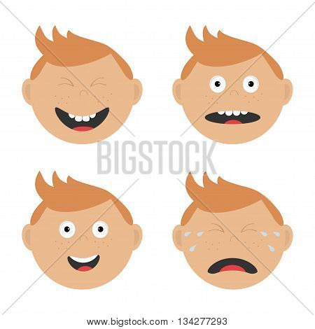Baby boy face set with different emotions. Crying screaming happy smiling surprised laughing head tears. Expression Cartoon character Abuse anger boy icon. White background Isolated Flat Vector