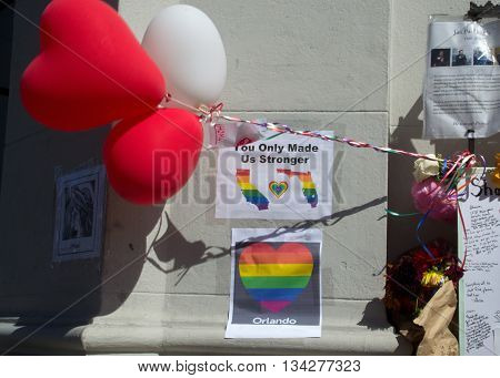 San Francisco, CA 6/13/16 - Heart-shaped balloons and a rainbow heart at the impromptu memorial on Castro Street for the Orlando, FL shooting victims.