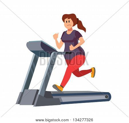 color vector young woman running on treadmill