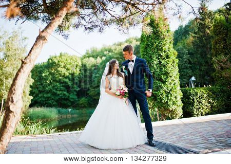 Wedding couple on pavement background wood outdoor