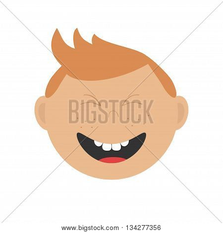 Laughing boy icon. Cute cartoon character with red hair and freckles. Baby boy emotion collection. Happy face. Smiling boy head. White background Isolated Flat design. Vector illustration