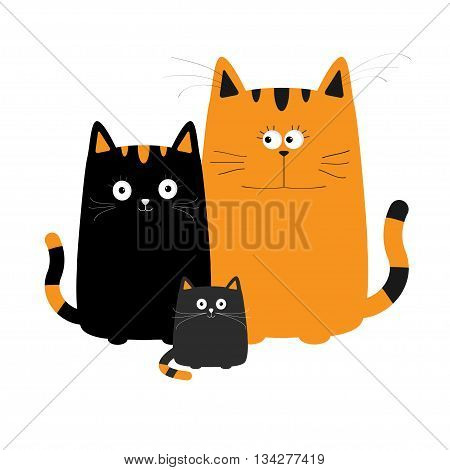 Cute cartoon cat family. Mother father and baby boy kitten. Big mustache whisker. Funny character set. Happy family. Love greeting card. Flat design. White background. Isolated. Vector illustration