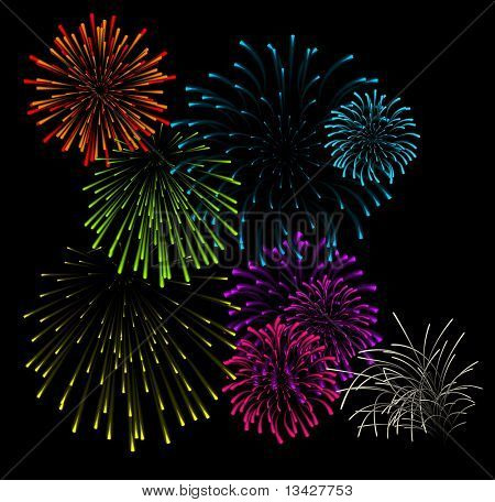 Set of fireworks illustrations on black background