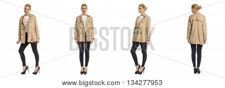 Beautiful Blonde Women In Brown Cloak Isolated