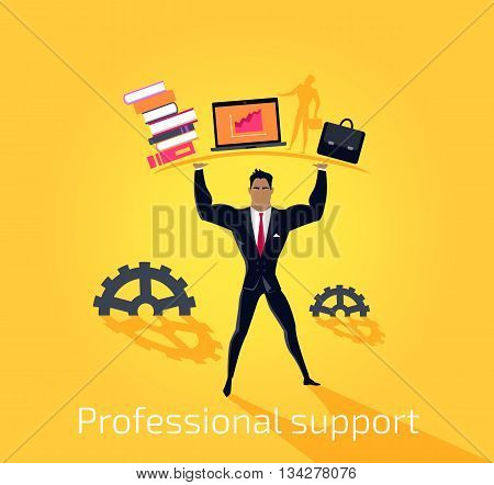 Professional support concept design flat style. Business professional support and work success, consultant man hand help, businessman organization management and occupation, vector illustration