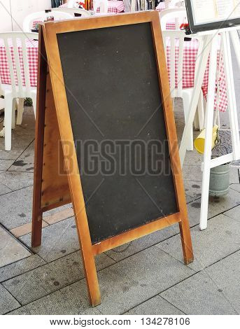 Restaurant sign board. Blank blackboard with copy space