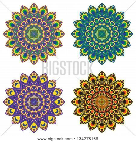 Set of vector ethnic circular patterns or mandalas with elements of peacock and firebird tail in east, indian, brazilian and mexican style.