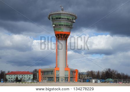 MOSCOW, RUSSIA - APRIL 15, 2015: The building of the control tower (KDP) to Sheremetyevo international airport under a cloudy sky