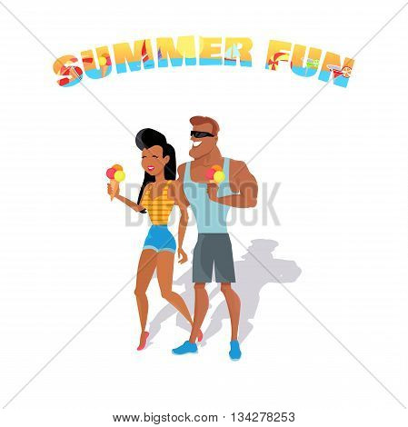 People relax in the summer isolated on white background. Loving couple eating ice cream. Summer person young and happy relax isolated. Vector illustration