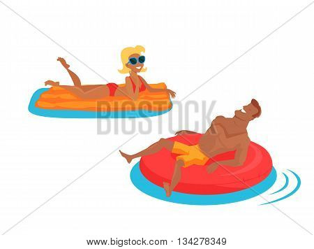 Happy family bathing in the sea. Man lies on an inflatable circle. Woman floating on a mattress in the sea. Happiness, holiday and cheerful swimming people, vector illustration