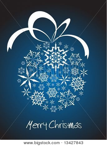 Christmas ball made from white snowflakes on blue background