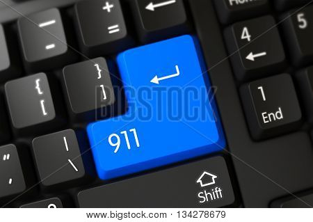 911 on Computer Keyboard Background. Blue 911 Key on Keyboard. PC Keyboard with Hot Key for 911. 911 Written on a Large Blue Button of a Black Keyboard. 911 Key on PC Keyboard. 3D.
