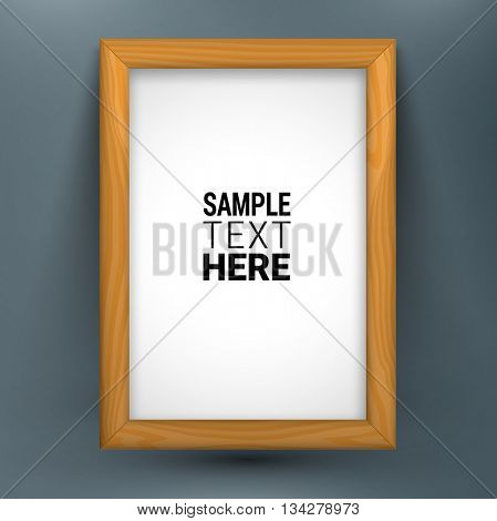 Realistic wooden picture frame isolated with sample text. White version. Vector illustration