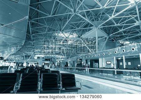 Modern international airport interior