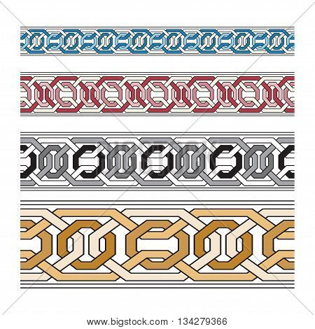 set vector pattern brushes. Brush set for frames, borders, backgrounds. colorful pattern brush with metallic effect.