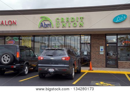 JOLIET, ILLINOIS / UNITED STATES - OCTOBER 9, 2015: The Abri Credit Union offers banking services at its Plainfield branch, in the Crossroads Plaza.