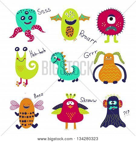 Cute monsters set. Collection of cartoon monster characters isolated on white background. Vector illustration.