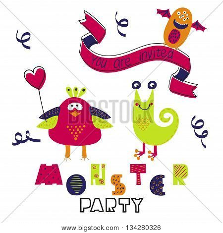 Birthday card design. Monster party invitation. Vector illustration with cute cartoon monsters.
